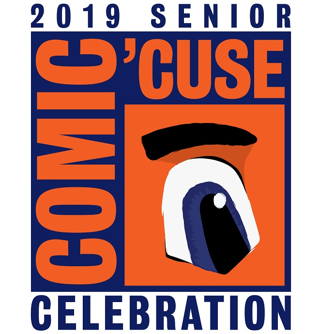 graphic with words 2019 Senior Celebration Comic Cuse