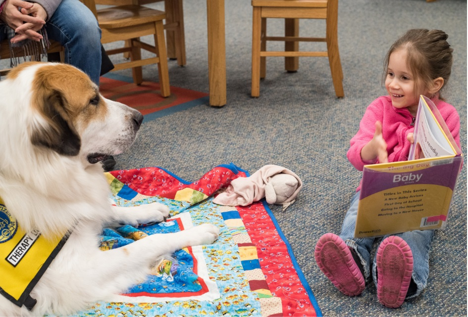 a dog sits on blanket next to a child with a book