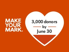 graphic with words Make Your Mark 3,000 donors by June 30