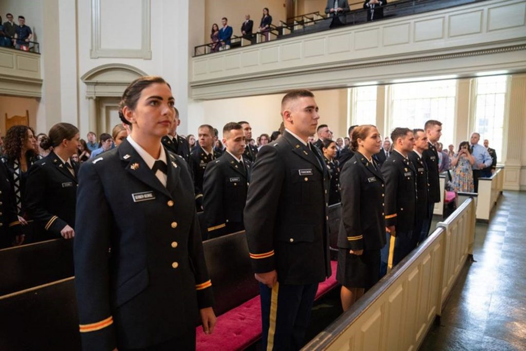 ROTC cadets stand at attention in Hendricks Chapel.
