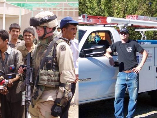 Side by side image of Mike in Iraq and Mike with his first service truck