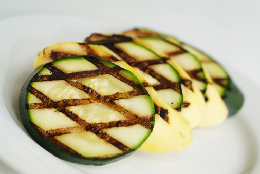 sliced barbecued zucchini