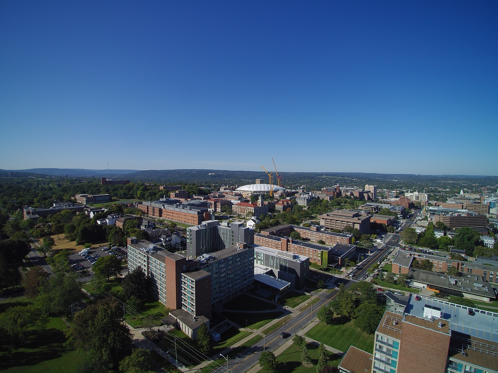 birds eye view of campus buildings