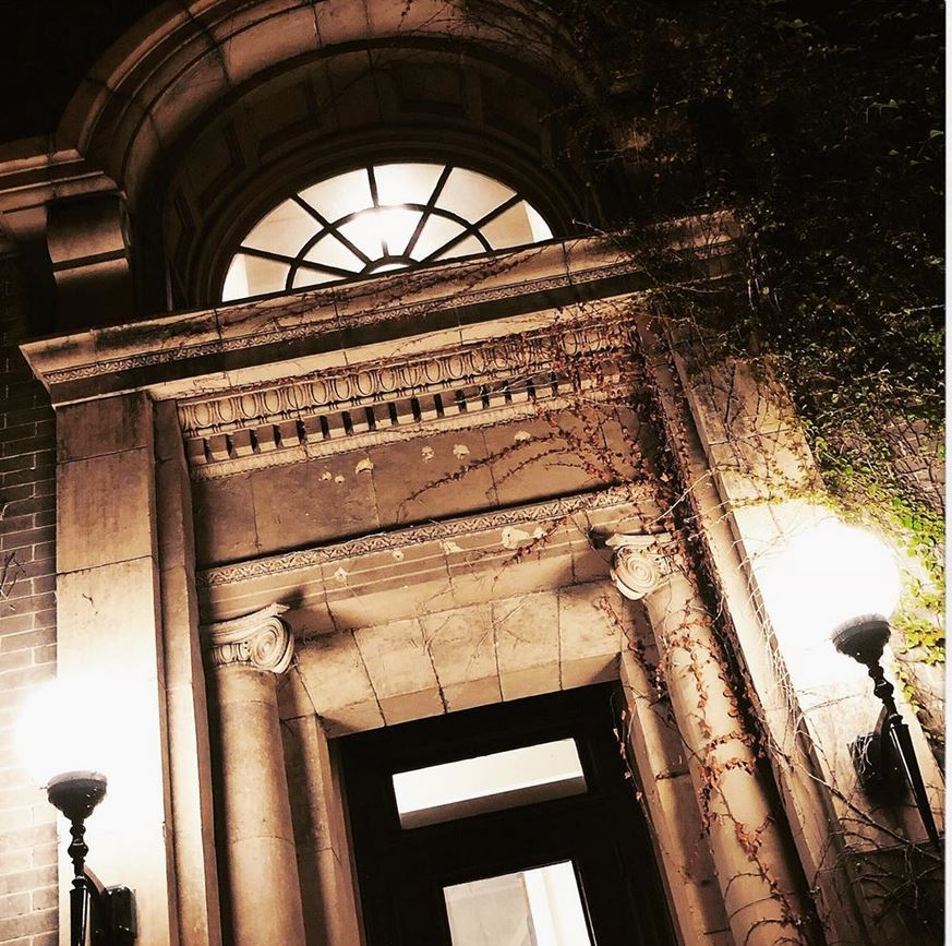 doorway lit at night