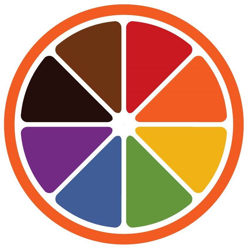 multi-colored orange slice logo