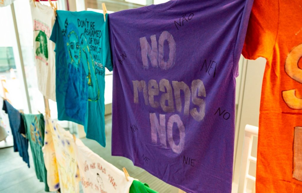decorated t-shirts on clothesline