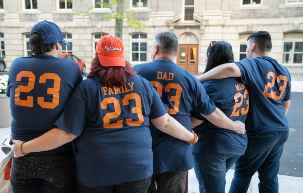 shot of family from behind with customized #23 t-shirts
