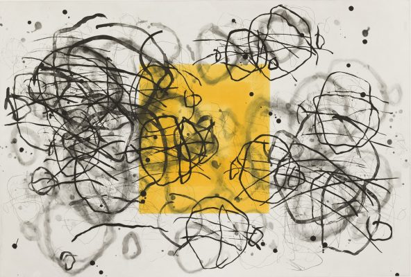 Artwork with a yellow box and black accents.