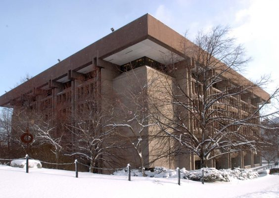 The exterior of Bird Library on a winter day.
