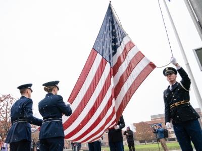 Cadets raising American flag