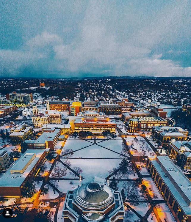 aerial view of campus with snow