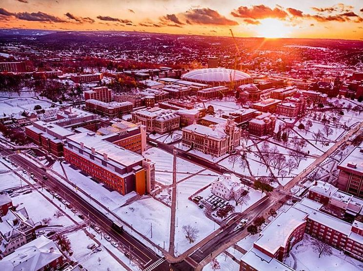 aerial view of snow-covered campus