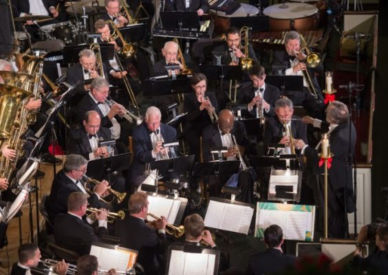 overhead image of the Syracuse University Brass Ensemble