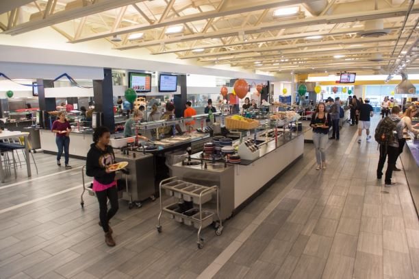 view of busy dining center