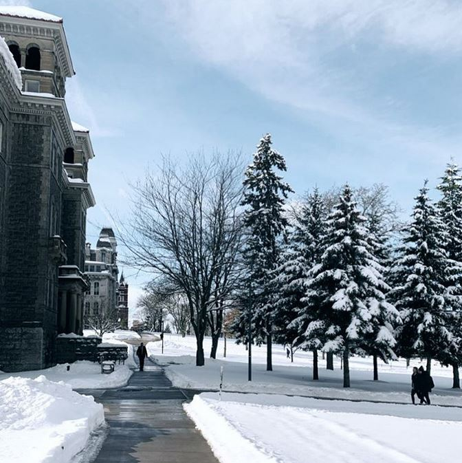 campus walkway with snow-covered trees