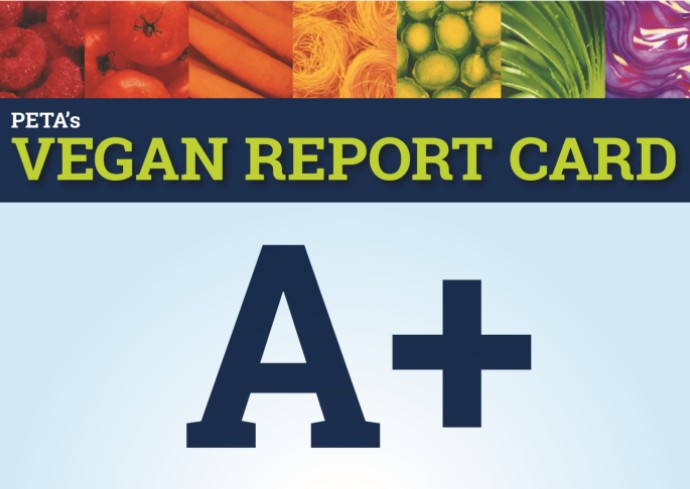 PETA Vegan Report Card A+ graphic