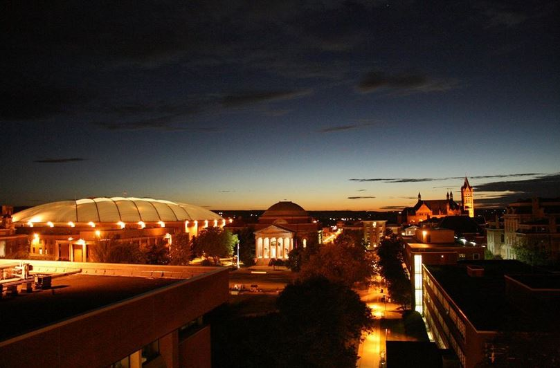 campus buildings at night