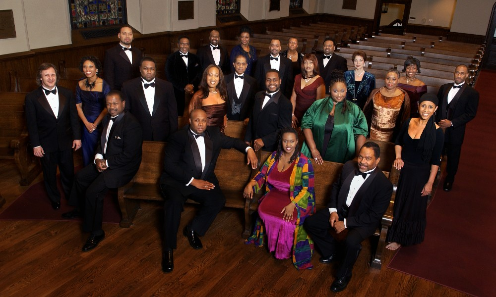 overhead group shot of American Spiritual Ensemble