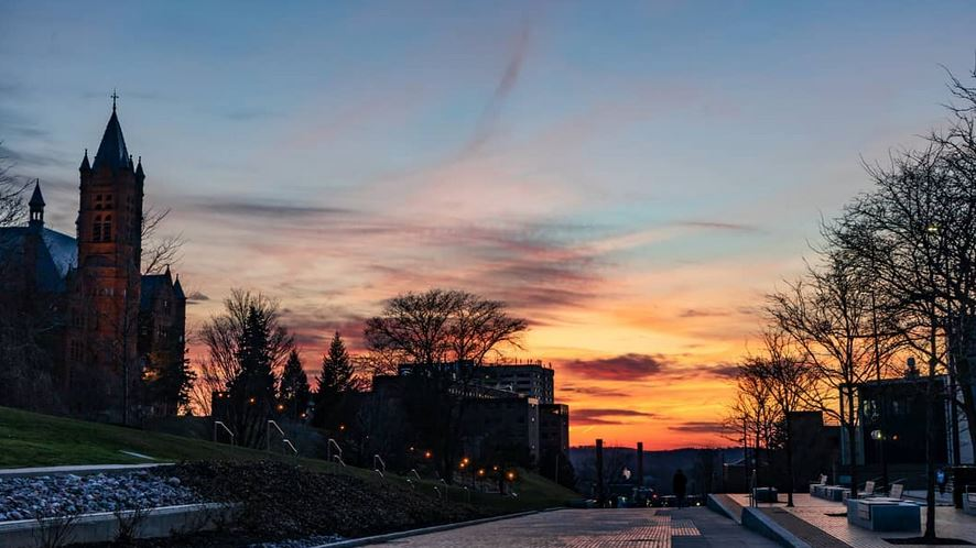 sunset over campus