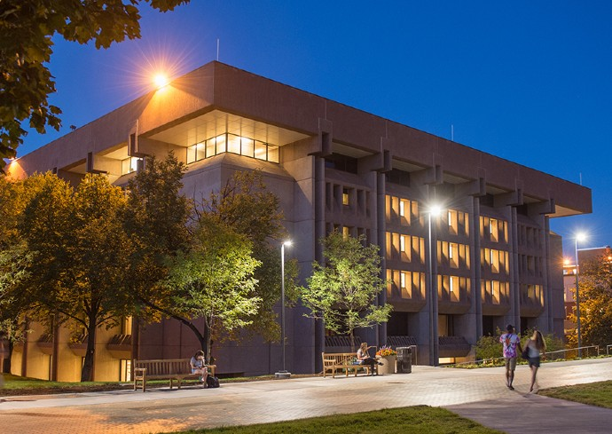 exterior view of Bird Library at night