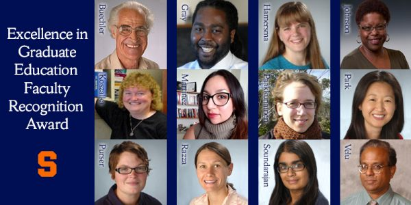 composite of 12 faculty recipients of the Excellence in Graduate Education Faculty Recognition Award