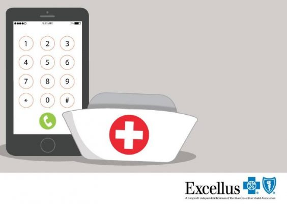 graphic of mobile device next to nurse's hat with Excellus BCBS logo