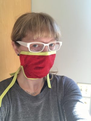 Jennifer Ross, professor and associate chair of physics, in homemade mask