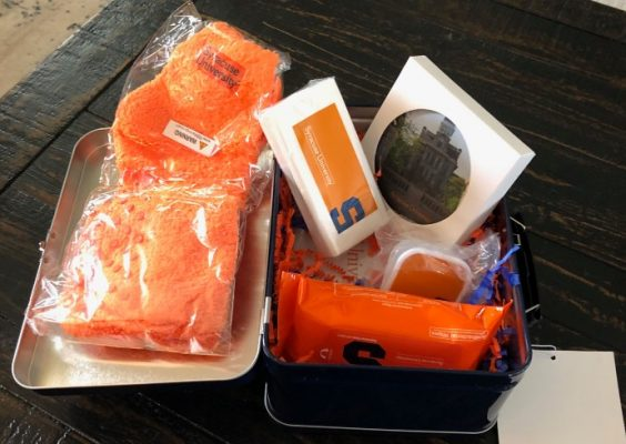 gift basket with Syracuse University merchandise