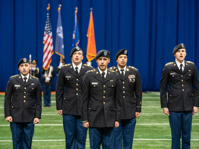 people standing in military uniforms