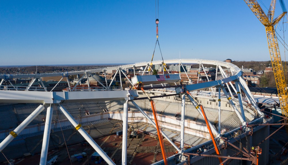 final beam is placed in crown-truss of stadium replacement roof