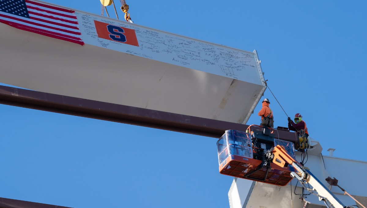 close up of structural beam being installed