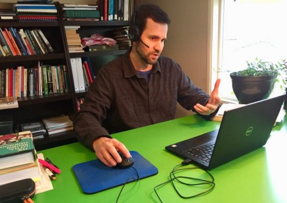ELI Instructor David Patent teaching at a laptop