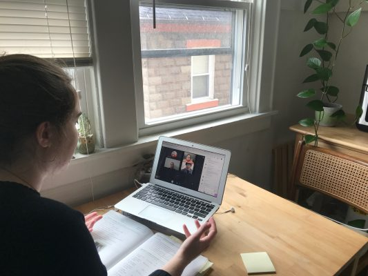Instructor Michelle Sands teaching international students online