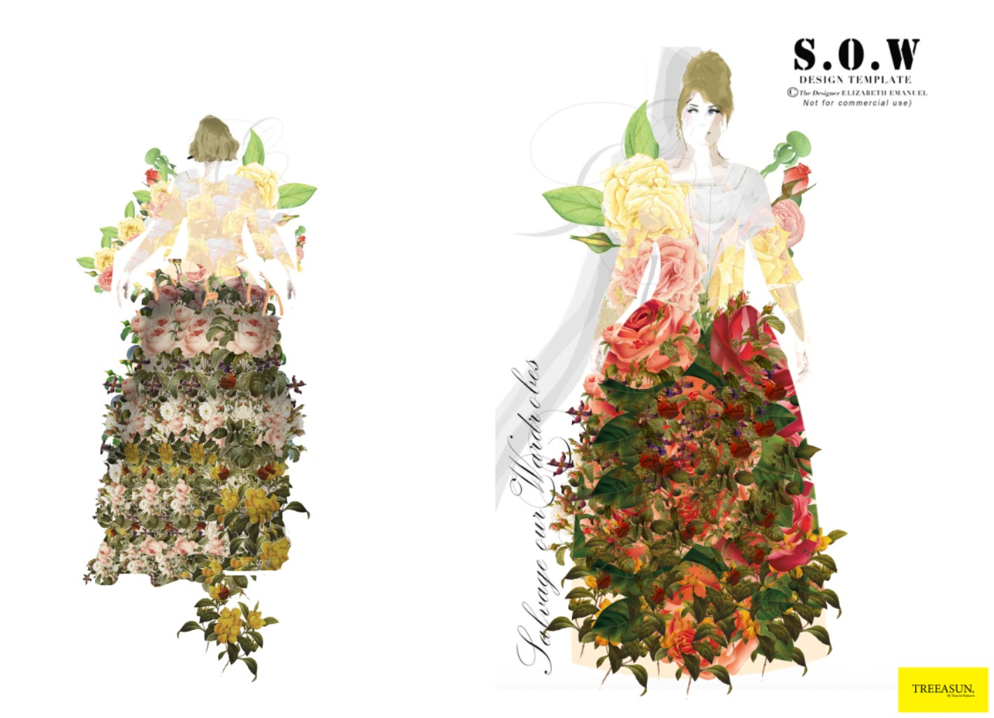 Marie Antoinette-inspired floral dress design by Yianni Biniaris