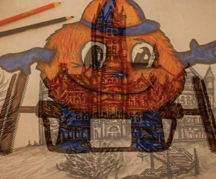 A colored pencil drawing of Otto the Orange in a wheelchair, overlapped by a graphite pencil drawing of Crouse College