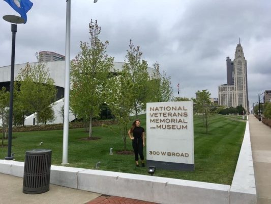 Tillman Scholar Lauren Buys outside the National Veterans Memorial and Museum
