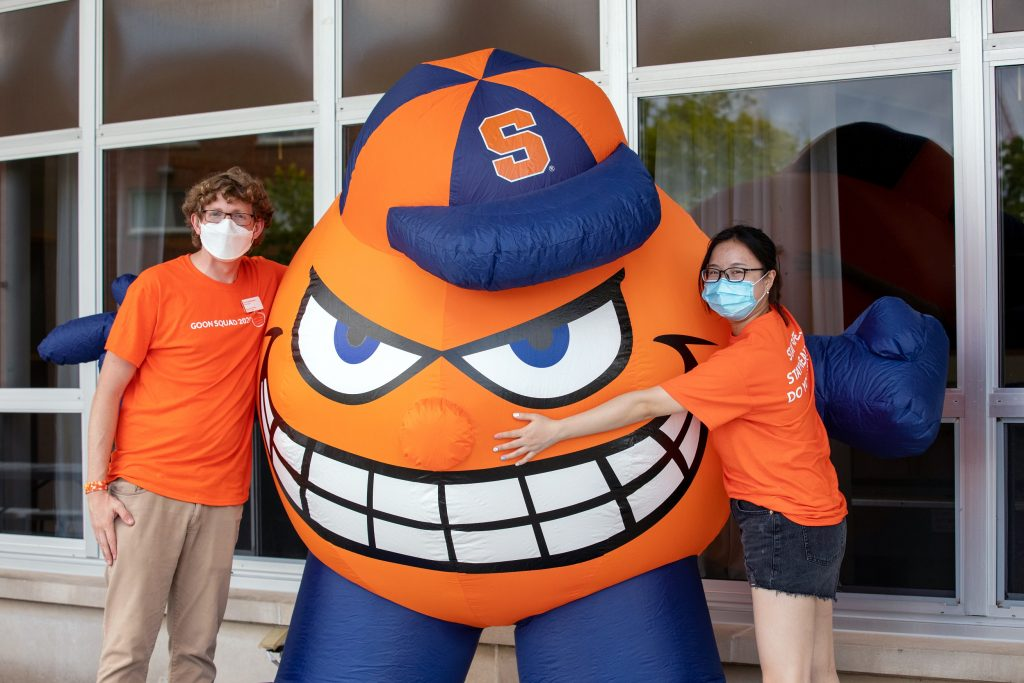 two people hugging blow up Otto
