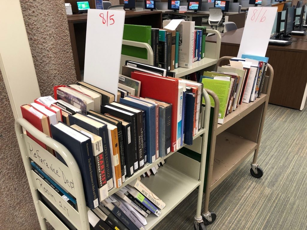 books on a cart