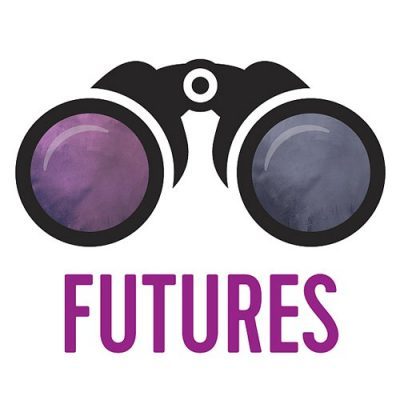 """graphic of binoculars with the word """"FUTURES"""" (logo for Syracuse Symposium)"""