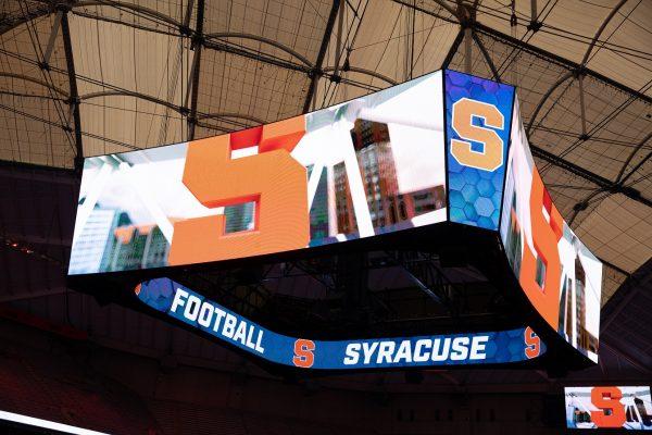 new center-hung scoreboard in the Stadium