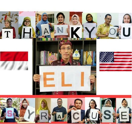composite of students from Indonesia holding up signs that spell out THANK YOU SYRACUSE ELI
