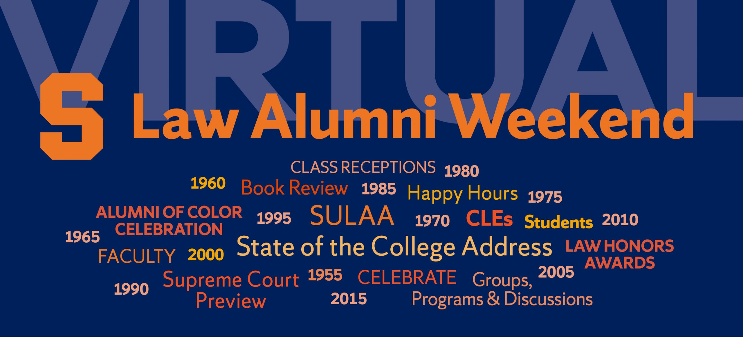 Virtual Law Alumni Weekend graphic