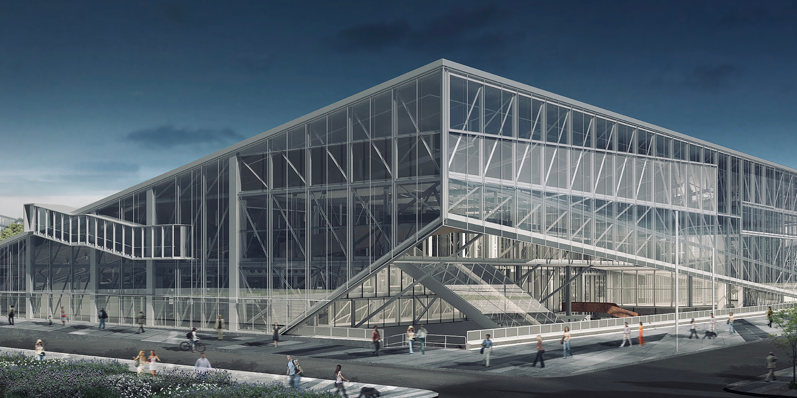 architectural rendering of steel structure with faceted exterior