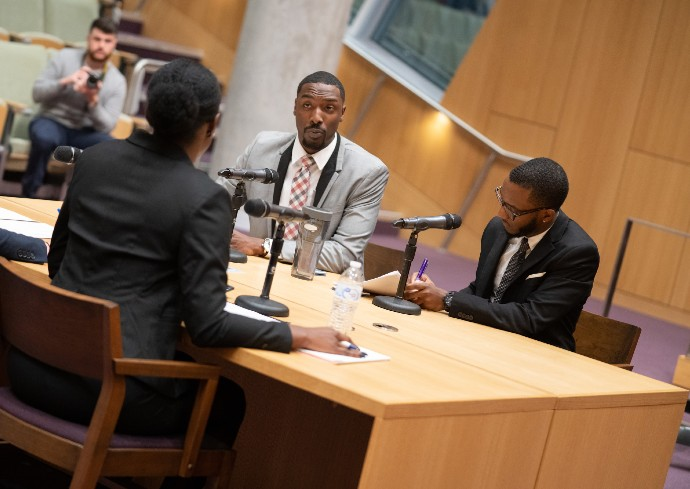 Kenneth Knight and Andrew Weekes compete in College of Law's 8th Annual Bond, Schoeneck & King Alternative Dispute Resolution Competition in 2019