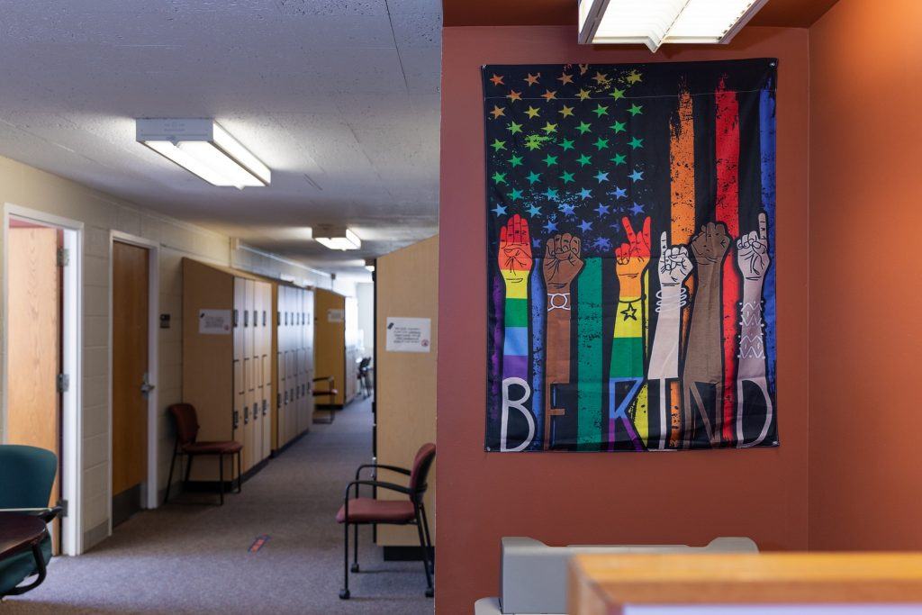 corridor with large colorful banner on one wall