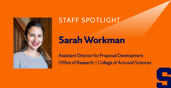 Staff Spotlight: portrait of Sarah Workman, Assistant Director of Proposal Development, Office of Research | College of Arts and Sciences