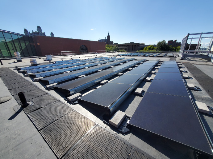 solar panels on the roof of the Schine Student Center