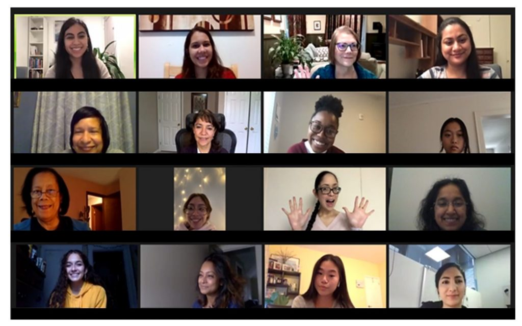 Zoom video meeting with rows of participants