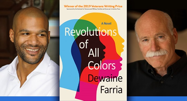 triptych with head shot of Dewaine Farria, book cover, and head shot of Tobias Wolff