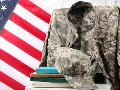 American Flag, U.S. Army uniform and books
